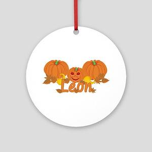 Halloween Pumpkin Leon Ornament (Round)