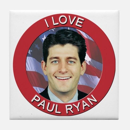 I Love Paul Ryan Tile Coaster