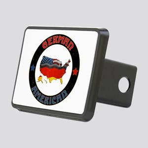 German American Flags Map Rectangular Hitch Cover