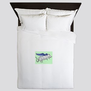 flying rat Queen Duvet