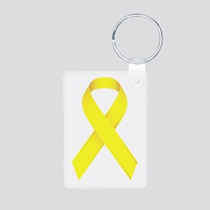 Yellow Ribbon Aluminum Photo Keychain