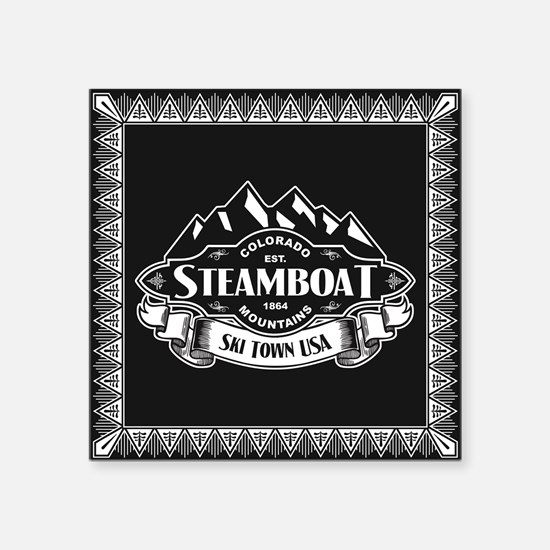"Steamboat Mountain Emblem Square Sticker 3"" x 3"""