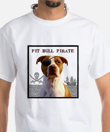 Pit Bull Pirate White T-Shirt