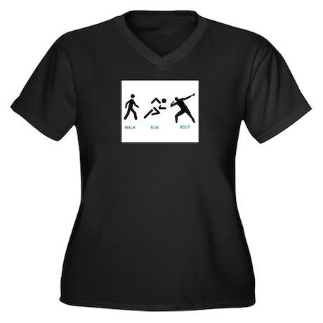 Bolt Jamaica Women's Plus Size V-Neck Dark T-Shirt