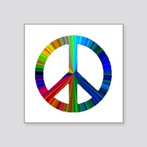 "PEACE sign prism Square Sticker 3"" x 3"""