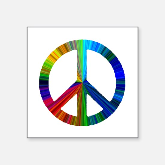 "PEACE sign prism.png Square Sticker 3"" x 3"""