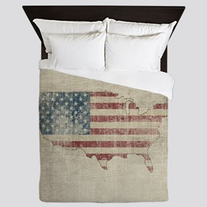 Vintage USA Flag / Map Queen Duvet