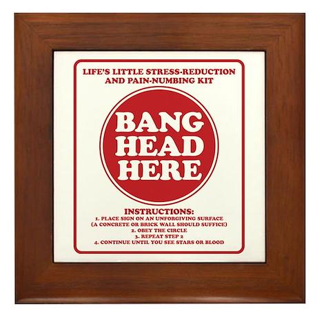 Bang Head Here Stress Reduction Kit Framed Tile