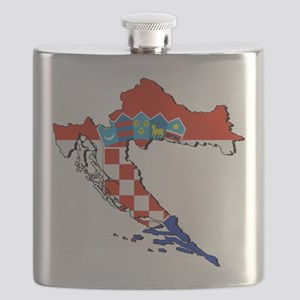 Flag Map of Croatia Flask