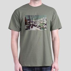 Pieter Bruegel Hunters in the Snow Dark T-Shirt