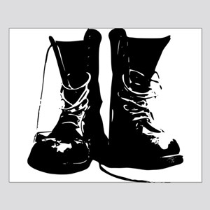 Black Leather Combat Dirty Boots with Laces Small