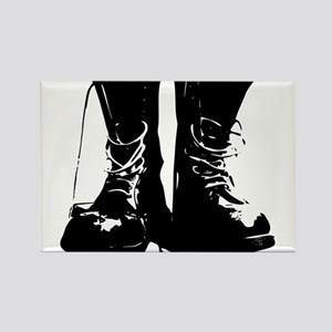 Black Leather Combat Dirty Boots with Laces Rectan