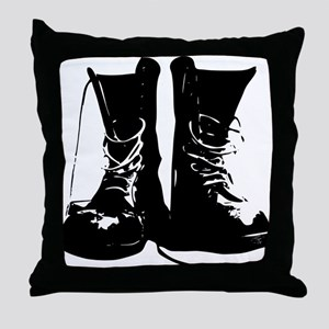 Black Leather Combat Dirty Boots with Laces Throw