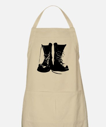 Black Leather Combat Dirty Boots with Laces Apron