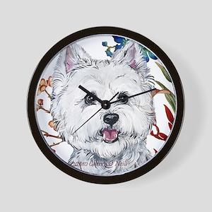 Westie Terrier in the Garden Wall Clock