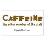 Caffeine On Staff Rectangle Sticker