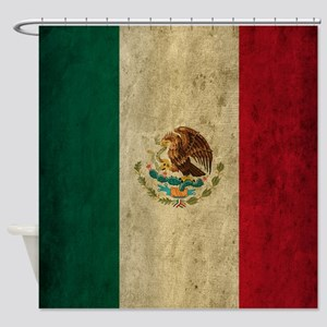 Grunge Mexico Flag Shower Curtain