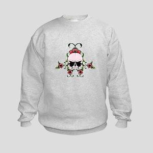 Pink Skull in hibiscuses flowers Kids Sweatshirt