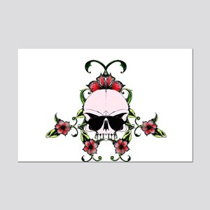 Pink Skull in hibiscuses flowers Mini Poster Print