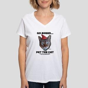 Go Ahead, Pet the Cat - Women's V-Neck T-Shirt