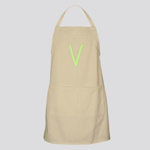 Lime and White Gingham Check Initial V Apron