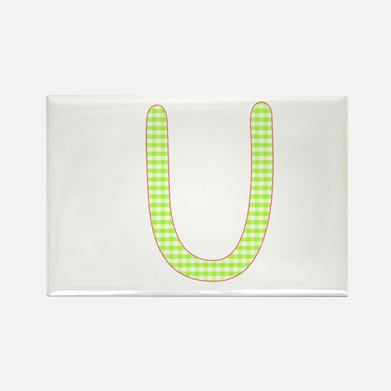 Lime and White Gingham Check Initial U Rectangle M