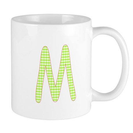 Lime and White Gingham Check Initial M Mug