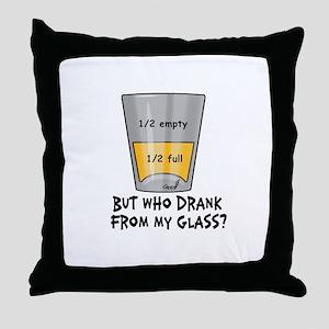 Half Empty Throw Pillow