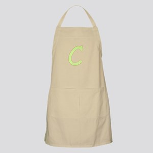 Lime and White Gingham Check Initial C Apron