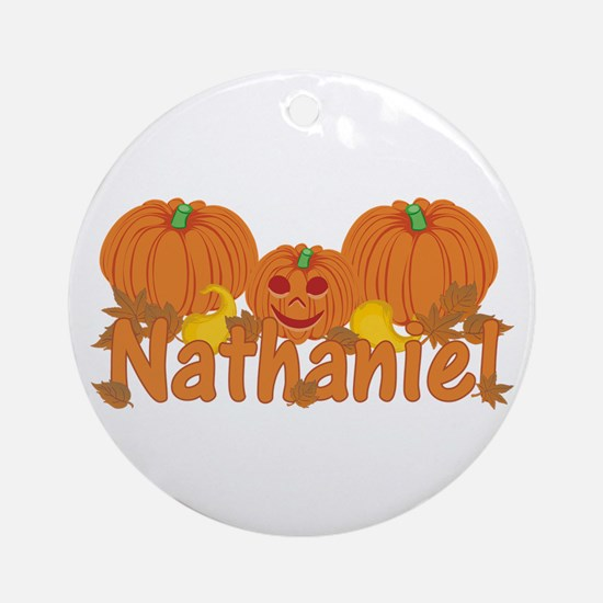 Halloween Pumpkin Nathaniel Ornament (Round)