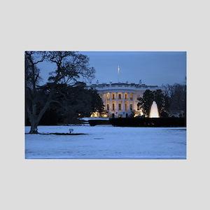 white house snow Rectangle Magnet