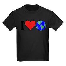 4-3-iloveearthblk Kids Dark T-Shirt