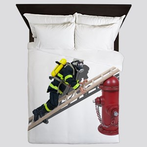 Fireman on Ladder on Fire Hydrant Queen Duvet