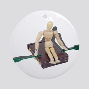 Rowing Briefcase Ornament (Round)