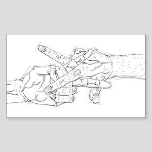Zombie Scissor Fingers Sticker (Rectangle)