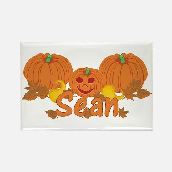 Halloween Pumpkin Sean Rectangle Magnet
