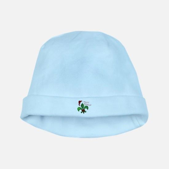 Merry Christmas Fleur de lis baby hat