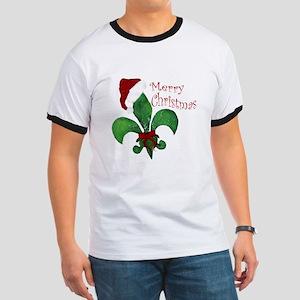 Merry Christmas Fleur de lis Ringer T