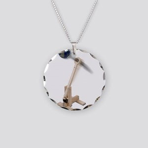 World War Catapult Necklace Circle Charm
