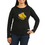Rubber Boots Women's Long Sleeve Dark T-Shirt