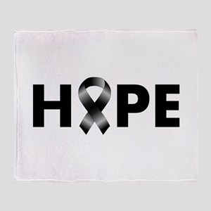 Black Ribbon Hope Throw Blanket