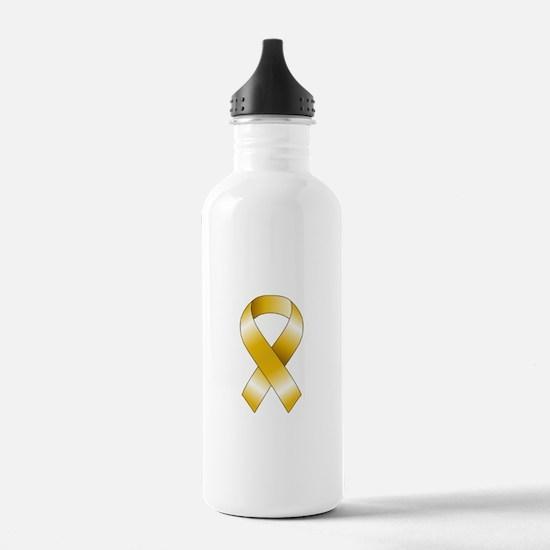 Gold Ribbon Water Bottle