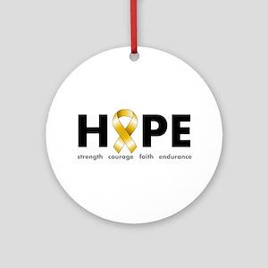 Gold Ribbon Hope Ornament (Round)