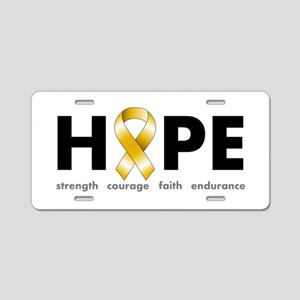 Gold Ribbon Hope Aluminum License Plate