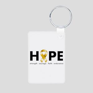 Gold Ribbon Hope Aluminum Photo Keychain