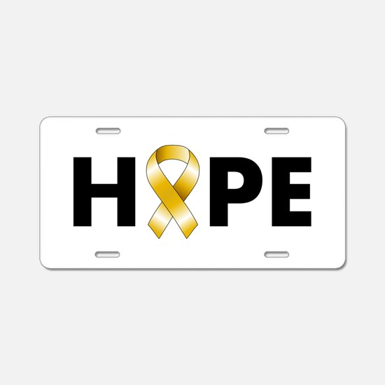 Gold Ribbon Hope Aluminum License Plate