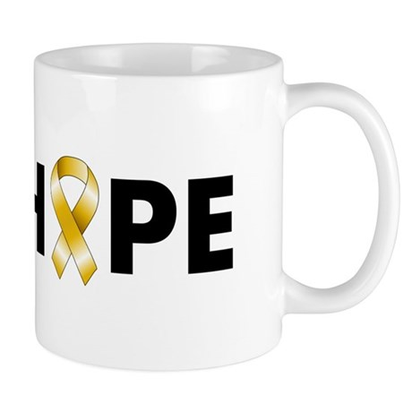 Gold Ribbon Hope Mug