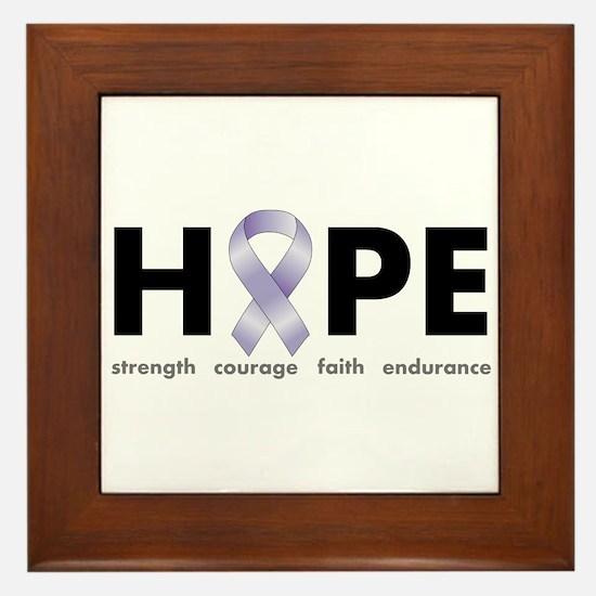 Lavender/Periwinkle Ribbon Hope Framed Tile