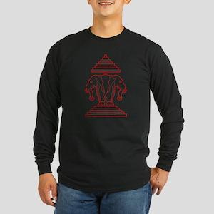 Three Headed Elephant Long Sleeve Dark T-Shirt