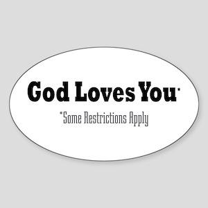 God Loves You Oval Sticker